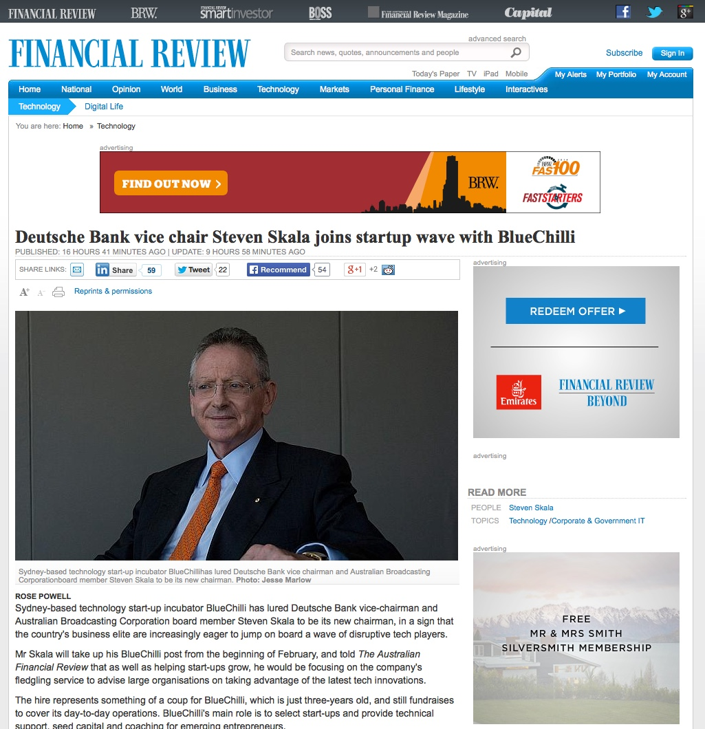 Today's announcement featured in The Australian Financial Review.